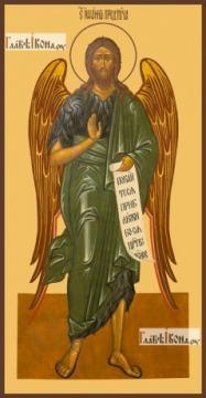 Иоанн Предтеча Креститель, ростовой, печатная на дереве икона
