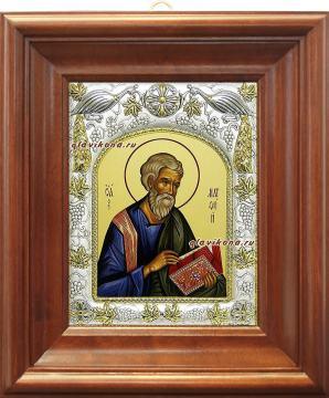 Апостол Матфей, икона в ризе, артикул 41463 - вид в киоте