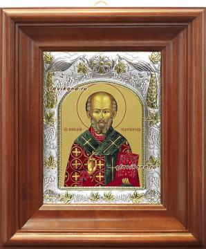 Николай Чудотворец святитель, икона в ризе, артикул 41728 - вид в киоте