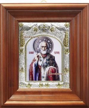 Николай Чудотворец (живописный), икона в ризе, артикул 41752 - вид в киоте