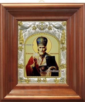 Николай Чудотворец (в митре), икона в ризе, артикул 41023 - вид в киоте