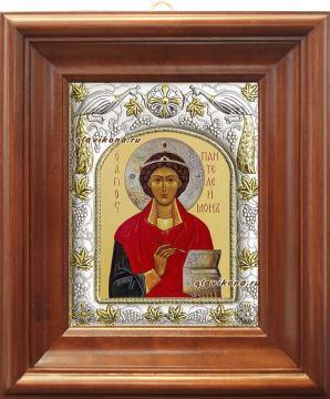 Целитель Пантелеимон, икона в ризе, артикул 41585 - вид в киоте