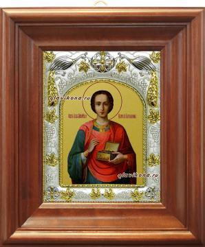 Целитель Пантелеймон (живописный), икона в ризе, артикул 41508 - вид в киоте