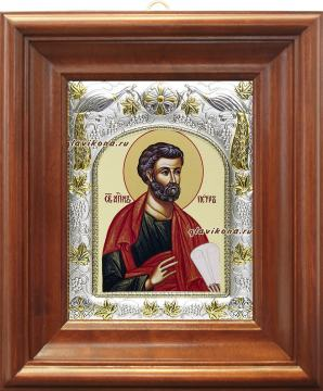 Апостол Петр, икона в ризе, артикул 41460 - вид в киоте