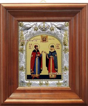 Петр и Феврония (княжеские), икона в ризе, артикул 41406 - вид в киоте