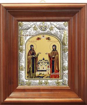 Петр и Феврония (монашеские), икона в ризе, артикул 41458 - вид в киоте