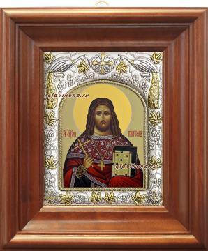 Платон Анкирский, икона в ризе, артикул 41559 - вид в киоте