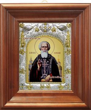 Сергей Радонежский (на фоне храмов), икона в ризе, артикул 41808 - вид в киоте