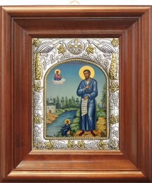 Симеон Верхотурский, икона в ризе артикул 41750 - вид в киоте