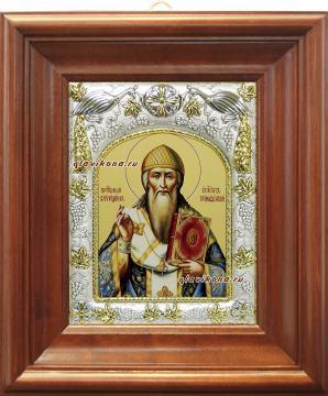 Спиридон Тримифунтский (в одеждах епископа), икона в ризе артикул 41741 - вид в киоте