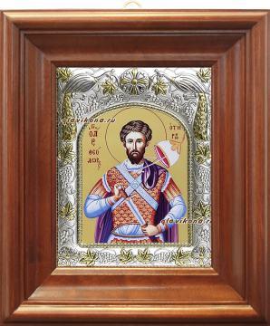 Феодор Тирон, икона в ризе артикул 41532 - вид в киоте