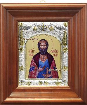 Князь Ярослав Мудрый, икона в ризе артикул 41409 - вид в киоте