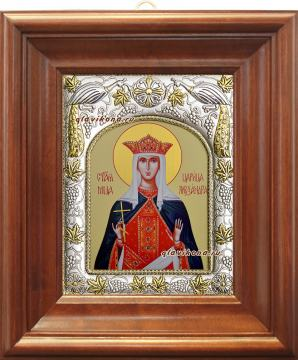 Александра Римская, икона в ризе артикул 41993 - вид в киоте