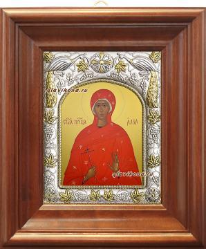 Мученица Алла, икона в ризе артикул 41564 - вид в киоте