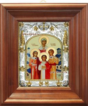 Вера, Надежда, Любовь, София, икона в ризе артикул 41917 - вид в киоте