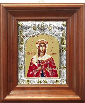 Великомученица Варвара, икона в ризе артикул 41902 - вид в киоте