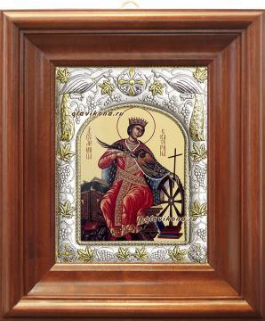 Екатерина великомученица, икона в ризе артикул 41542 - вид в киоте