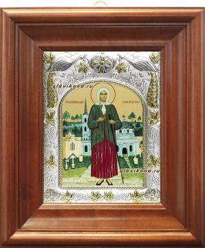 Ксения Петербургская, икона в ризе артикул 41811 - вид в киоте