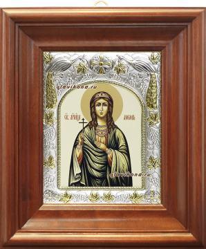 Любовь Римская, икона в ризе артикул 41591 - вид в киоте