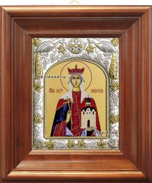 Людмила Чешская, икона в ризе артикул 41506 - вид в киоте