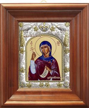 Маргарита Антиохийская, икона в ризе артикул 41540 - вид в киоте