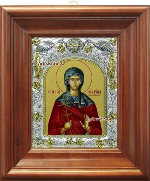 Марина Антиохийская, икона в ризе артикул 41563 - вид в киоте