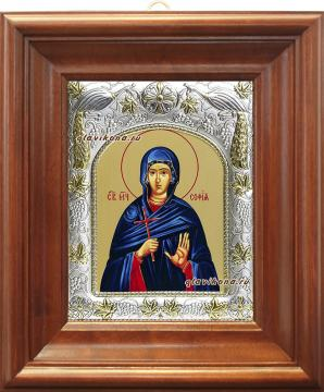 София Римская, икона в ризе артикул 41579 - вид в киоте
