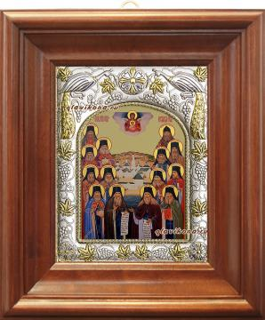 Оптинские старцы, икона в ризе артикул 41874 - вид в киоте