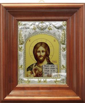 Господь Вседержитель (с Библией), икона в ризе, артикул 42808 - вид в киоте