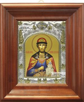 Дмитрий Донской (поясной), икона в ризе, артикул 42809 - вид в киоте