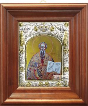 Лев Катанский, икона в ризе, артикул 42814 - вид в киоте