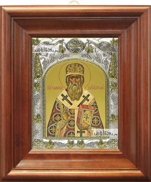 Макарий Московский, икона в ризе, артикул 42186 - вид в киоте