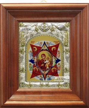 Неопалимая Купина Божия Матерь, икона в ризе, артикул 42819 - вид в киоте