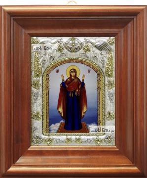 Нерушимая стена Божия Матерь, икона в ризе, артикул 42820 - вид в киоте