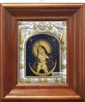 Остробрамская Божия Матерь, икона в ризе, артикул 42822 - вид в киоте