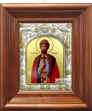 Святослав Владимирский, икона в ризе, артикул 42826 - вид в киоте