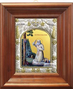 Серафим Саровский (моление на камне), икона в ризе артикул 42828 - вид в киоте
