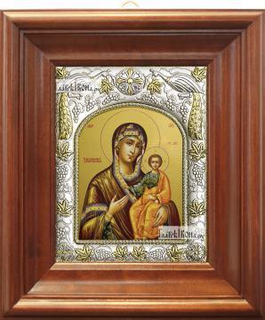 Смоленская Божия Матерь, икона в ризе, артикул 42829 - вид в киоте