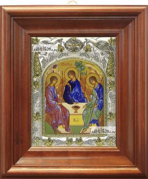 Троица Пресвятая (Рублева), икона в ризе, артикул 42832 - вид в киоте