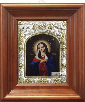 Умиление Божия Матерь, икона в ризе, артикул 42833 - вид в киоте