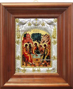 Святая Троица, икона в ризе артикул 41119 - вид в киоте