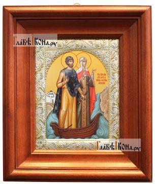 Петр и Феврония (в лодочке) икона в посеребренной ризе, артикул 41879 - вид в киоте