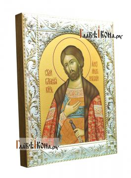 Александр Невский, икона в классической ризе - вид сбоку