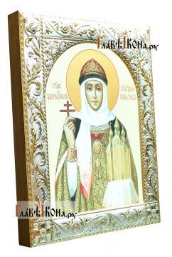 Святая Ольга, печатная икона в классической ризе - вид сбоку