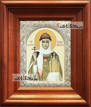 Святая Ольга, печатная икона в классической ризе - вид в киоте