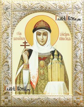Святая Ольга, печатная икона в классической ризе