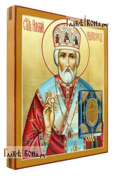 Николай Чудотворец (в митре), икона писаная, артикул 577 - вид сбоку