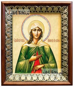 Ксения Петербургская, икона на холсте в киоте-рамке