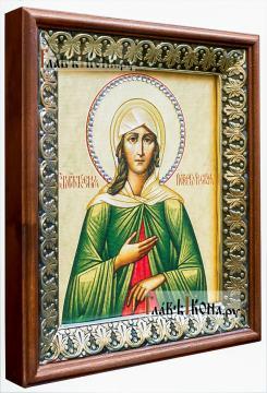 Ксения Петербургская, икона на холсте в киоте-рамке - вид сбоку