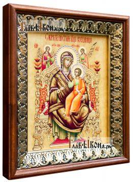 Всецарица Божия Матерь, икона на холсте в киоте-рамке - вид сбоку